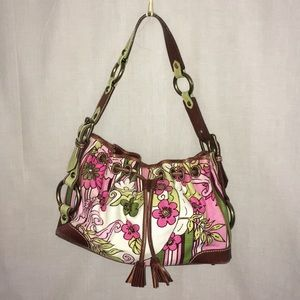 Isabella Fiore Large floral fabric leather purse